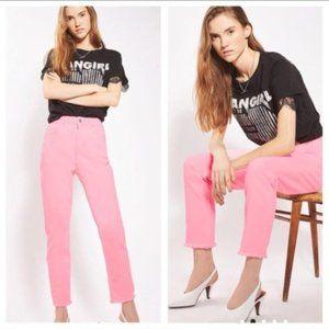 NWT Topshop Raw Hem Straight Leg Jeans PINK 28X30